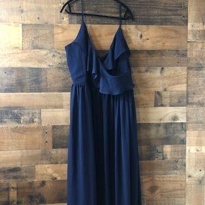 Fashion Nova Navy Blue Flowy Ruffle Maxi Dress